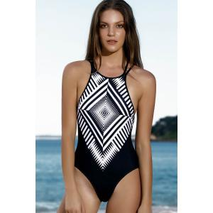 Women Stylish Jewel Neck Geometric Pattern One-Piece Swimsuit - BLACK S