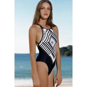 Women Stylish Jewel Neck Geometric Pattern One-Piece Swimsuit -