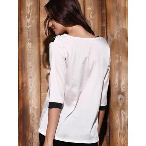 Trendy Plunging Neck 3/4 Sleeve Striped Loose-Fitting T-Shirt For Women - WHITE S