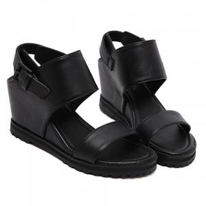 Stylish Wedge Heel and Black Color Design Sandals For Women - BLACK 37