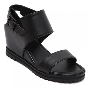 Stylish Wedge Heel and Black Color Design Sandals For Women