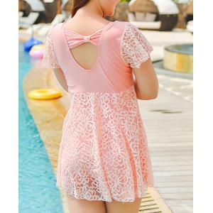 Stylish Solid Color Lace Spliced One-Piece Dress Swimwear For Women -