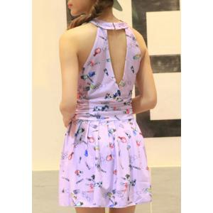 Cute Keyhole Neck Print Swimwear For Women -