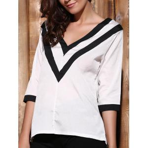 Trendy Plunging Neck 3/4 Sleeve Striped Loose-Fitting T-Shirt For Women
