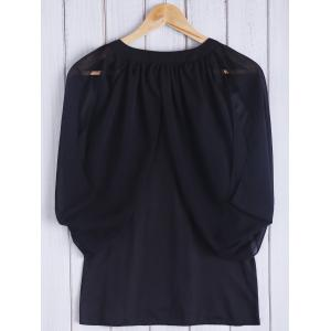 Chic Keyhole Neck 3/4 Sleeve Black Cold Shoulder See-Through Blouse For Women -