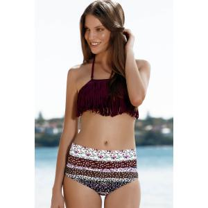 Stylish Halter Fringed Floral Printed Bikini Set For Women -