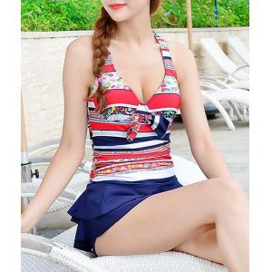 Halter Ruffled Striped Underwire Cute One Piece Swimsuits -