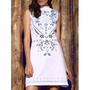 Trendy Stand Collar Sleeveless Floral Print Women's Dress - White - L
