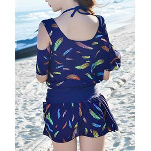 Endearing Halter Feather Printed Bikini and Cover-Up Swimwear Suit For Women -