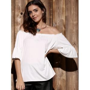 Endearing Off-The-Shoulder Flare Sleeve Pleated Blouse For Women - WHITE ONE SIZE(FIT SIZE XS TO M)