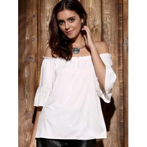 Endearing Off-The-Shoulder Flare Sleeve Pleated Blouse For Women -