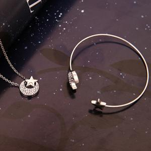 Crescent Star Shape Rhinestoned Jewelry Set (Necklace+Bracelet+Earrings) -