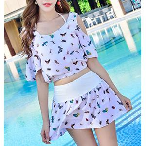Endearing Halter Insect Printed Bikini and Cover-Up Swimwear Suit For Women -