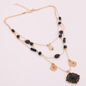 Multilayered Water Drop Floral Necklace - GOLDEN