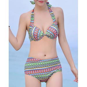 Sweet Halter Printed High Waist Bikini and Hooded Dress Suit For Women -