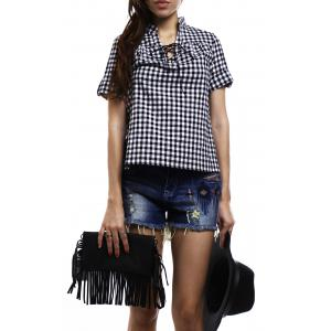 Stylish V-Neck Short Sleeve Lace-Up Plaid Blouse For Women - BLACK S