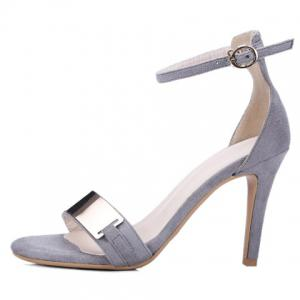 Metal Bar High Heel Ankle Strap Sandals -