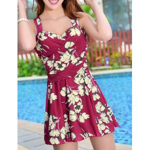 Floral Print Skirted One Piece Swimsuit - Wine Red - Xl