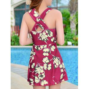 Floral Print Skirted One Piece Swimsuit - WINE RED XL