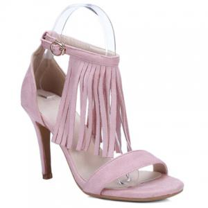 Ankle Strap Heeled Fringe Sandals