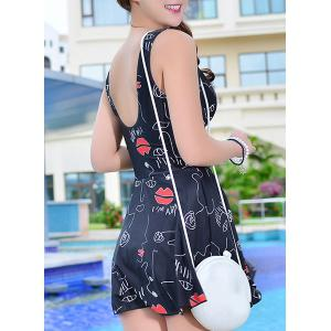 Lips Printed High Waist Cute One Piece Swimsuit -