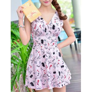 Cute Printed High Waist One-Piece Dress Swimwear For Women -