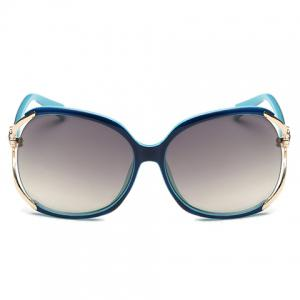 Chic Flower Shape and Hollow Out Embellished Polarized Sunglasses - BLUE/BLACK