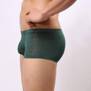 New Style Elastic Waist Solid Color Jacquard Design Penis Pouch Boxer Briefs For Men -