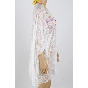 See-Through 3/4 Sleeve Lace Beach Kimono -