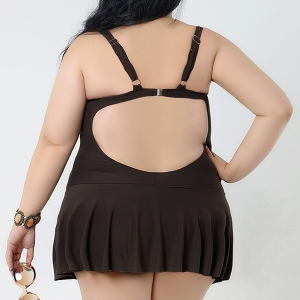 Padded Plus Size Skirted One Piece Swimsuit - COFFEE 2XL