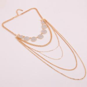 Alloy Multilayer Coin Glitter Powder Pendant Necklace - GOLDEN