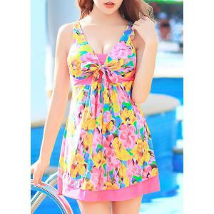 Floral Printed High Waist One-Piece Cute Bathing Suit -