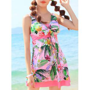 Cute High Waist One-Piece Dress Floral Swimwear For Women