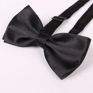 Stylish Candy Color Double-Deck Satin Bow Tie For Men - BLACK
