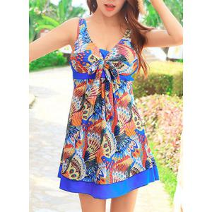 Cute Peacock Printed High Waist One-Piece Dress Swimwear For Women -