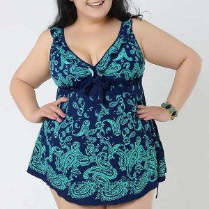Stylish V-Neck Floral Print Swimsuit For Women
