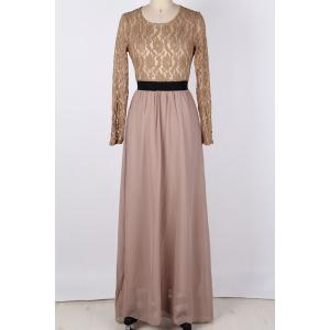 Maxi Lace Panel Formal Evening Dress with Sleeves