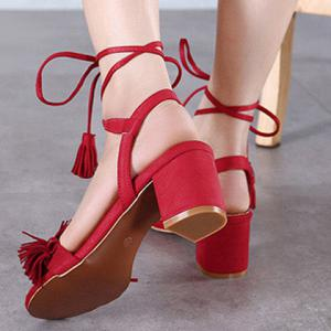 Fashionable Solid Colour and Fringe Design Sandals For Women -
