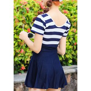 Simple Design Scoop Neck Short Sleeves Striped Swimwear For Women - DEEP BLUE M