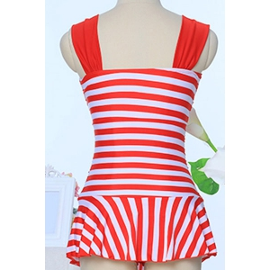 Simple Straps Twisted Striped Swimwear For Women -