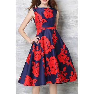 Vintage Round Collar Sleeveless Floral Print High-Waisted Dress For Women - Red - L