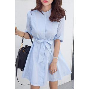Stylish Stand Neck Half Sleeve Blue Stripe Women's Dress