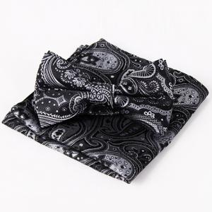 Stylish Ethnic Paisley Jacquard Black Bow Tie and Handkerchief For Men