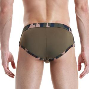 New Style Low Waist Star Embroidered Camo Briefs Swimming Trunks For Men - ARMY GREEN M