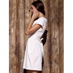 Chic Round Collar Short Sleeve Pocket Design Solid Color Women's Dress -