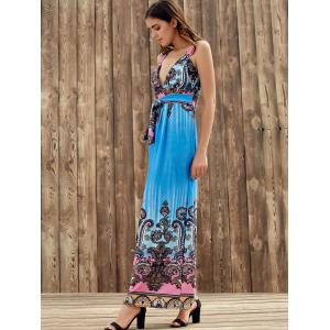 Elegant Plunging Neck Sleeveless Printed Self-Tie High Waist Dress For Women -