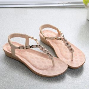 Bohemia Metal and Beading Design Sandals For Women -