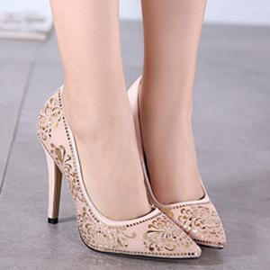 Elegant Stiletto Heel and Floral Print Design Pumps For Women -