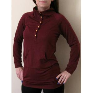 Casual Buttoned Stand Collar Solid Color Long T-Shirt For Women