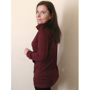Casual Buttoned Stand Collar Solid Color Long T-Shirt For Women - CLARET XL
